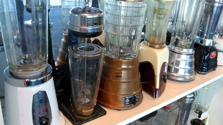 a collection of food blenders