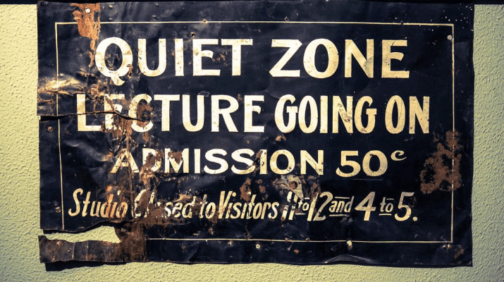 sign showing 'Quiet Zone: Lecture Going ON'