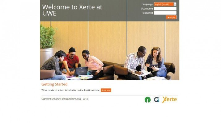the Xerte login page at UWE