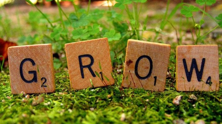 GROW spelled out in scrabble letters