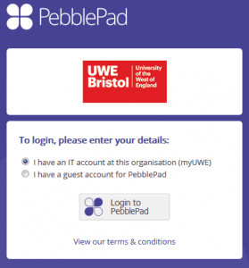 PebblePad login page