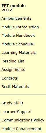 2017/18 Blackboard Module menu includes Announcements, Module Introduction, Module Handbook, Module Schedule, Learning Materials, Reading List, Assignments, Contacts, Study Skills, Learner Support, Communications Policy and Module Enhancement