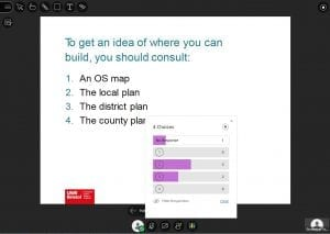 Example slide showing one question and four possible answers with box showing that some questions have received votes