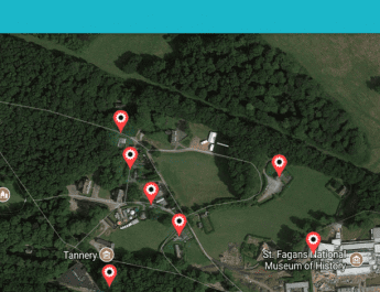 satellite view of walk map showing zones at St. Fagans National Museum of History