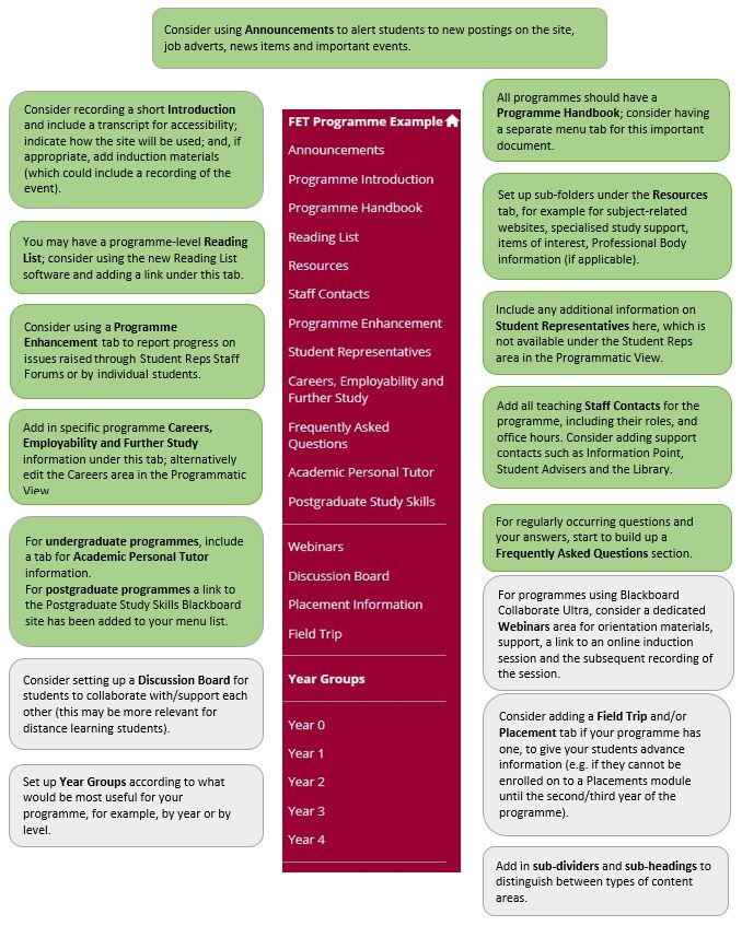 Diagram of FET Blackboard Programme Site course menu.  See link above for accessible version.