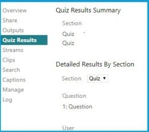 Screenshot of Quiz Results Summary in Panopto