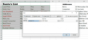 The selected table and the Sort dialogue box with Column C selected.